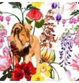 tropical exotic flowers plant lion animal floral vector image vector image