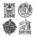 vintage surf logos monochrome set vector image vector image