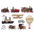 vintage transport icon set vector image