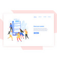 web banner template with people and giant vector image
