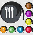 fork knife spoon icon sign Symbol on eight colored vector image