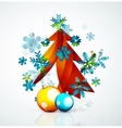 Merry Christmas tree modern abstract geometric vector image