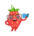 funny strawberry in eyeglasses reading book cute