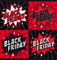 black friday sale set comic style banners 4 vector image