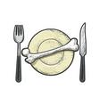 bone on plate line art sketch vector image vector image