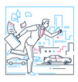 businessman late for a meeting - line design style vector image vector image