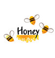 cartoon bees and honey flow background vector image vector image
