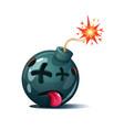 cartoon bomb fuse wick spark icon dead smiley vector image vector image