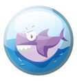 cartoon character of an angry purple shark in the vector image