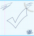 check mark line sketch icon isolated on white vector image vector image