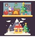 christmas room new year house landscape santa clau vector image