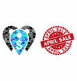 collage bank marks with scratched april sale stamp vector image vector image