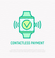 contactless payment thin line icon vector image