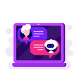 cute chat bot chatting with man vector image vector image