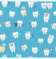 cute healthy and ill white teeth seamless pattern vector image vector image