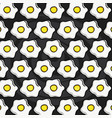 delicious eggs frieds pattern background vector image