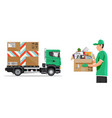 delivery truck full household items vector image