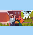 family in masks celebrating happy thanksgiving day vector image vector image