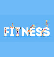 fitness banner template people doing diversity vector image