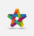 five-pointed star in rainbow colors vector image vector image