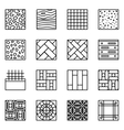 Floor material line icons vector image vector image
