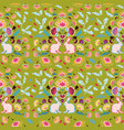 green folk art pattern with bunny vector image vector image