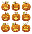 halloween cartoon pumpkins faces vector image