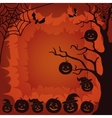 Halloween landscape pumpkins tree and spider vector image
