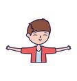 happy young man open arms cartoon vector image vector image
