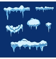 Ice sheet with icicle set in cartoon style vector image vector image