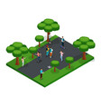 isometric 3d teenagers playing in park vector image vector image