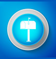 mail box icon isolated on blue background vector image vector image