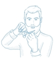 Man cutting his beard and moustache with scissors vector image vector image