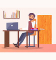 man office workplace typing on computer bookshelf vector image vector image