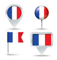 Map pins with flag of France vector image vector image
