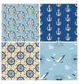 Marine seamless patterns collection Sea and ocean vector image