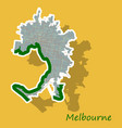 Melbourne australia map in retro style sticker