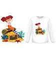 mermaid on long sleeve t-shirt mock up vector image vector image