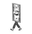 one hundred dollars walk sketch engraving vector image