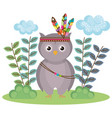 owl woodland animal with feather crown vector image vector image