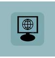 Pale blue globe monitor icon vector image vector image