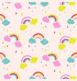 rainbow and clouds cute baby seamless vector image vector image