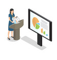 report businesswoman at podium with diagrams flat vector image vector image