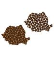 romania - map of coffee bean vector image