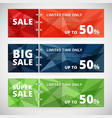 sale discount banners set with polygonal abstract vector image vector image