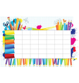 school timetable vector image vector image
