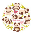 set cute pandas isolated on a white background vector image vector image
