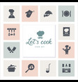 set of icons on the kitchen theme kitchen tools vector image vector image