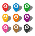 set of nine colorful map pointers with man icon vector image
