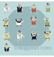 Set of zombie cartoon icons4 vector image vector image